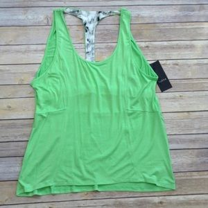 Zobha open back green workout tank top
